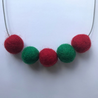 Handmade CHRISTMAS HOLIDAYS Red & Green Felt Ball Bead Necklace - Minimalist