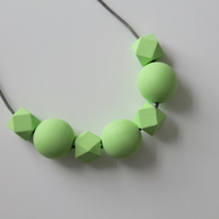 Handmade Light Pastel Green Wood Wooden Bead Beaded Necklace - Minimalist