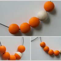 Handmade Bright Orange & Natural Wood Wooden Bead Beaded Necklace - Minimalist