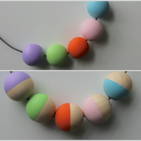 Handmade Multicoloured PASTELS Wood Wooden Bead Beaded Necklace - Minimalist