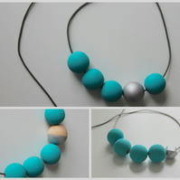 Handmade Turquoise & Silver Wood Wooden Bead Beaded Necklace - Minimalist