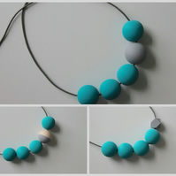 Handmade Turquoise & Grey Wood Wooden Bead Beaded Necklace - Minimalist