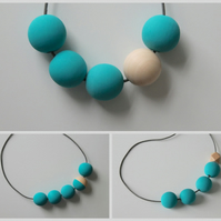 Handmade Turquoise & Natural Wood Wooden Bead Beaded Necklace - Minimalist