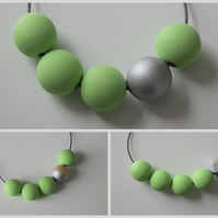 Handmade Light Pastel Green & Silver Wood Wooden Bead Beaded Necklace