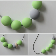Handmade Light Pastel Green & Grey Wood Wooden Bead Beaded Necklace - Minimalist