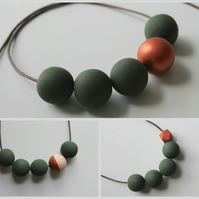 Handmade Dark Khaki Green & Copper Wood Wooden Bead Beaded Necklace - Minimalist