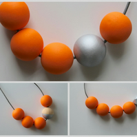 Handmade Bright Orange & Silver Wood Wooden Bead Beaded Necklace - Minimalist