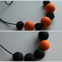 Handmade HALLOWEEN Black & Orange Wood Wooden Bead Beaded Necklace - Minimalist