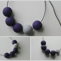 Handmade Dark Purple & Grey Wood Wooden Bead Beaded Necklace - Minimalist