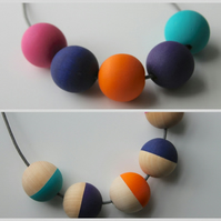 Handmade Multicoloured BRIGHTS Wood Wooden Bead Beaded Necklace - Minimalist