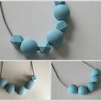 Handmade Baby Light Pastel Blue Wood Wooden Bead Beaded Necklace - Minimalist