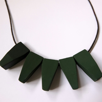 Handmade Dark Khaki Green Wood Wooden Bead Beaded Pendants Necklace - Minimalist