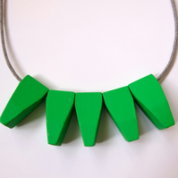 Handmade Green Wood Wooden Bead Beaded Pendants Necklace - Minimalist Contrast