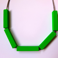 Handmade Green Wood Wooden Bead Beaded Bar Tube Necklace - Minimalist Contrast