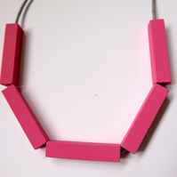 Handmade Bright Pink Wood Wooden Bead Beaded Bar Tube Necklace - Minimalist