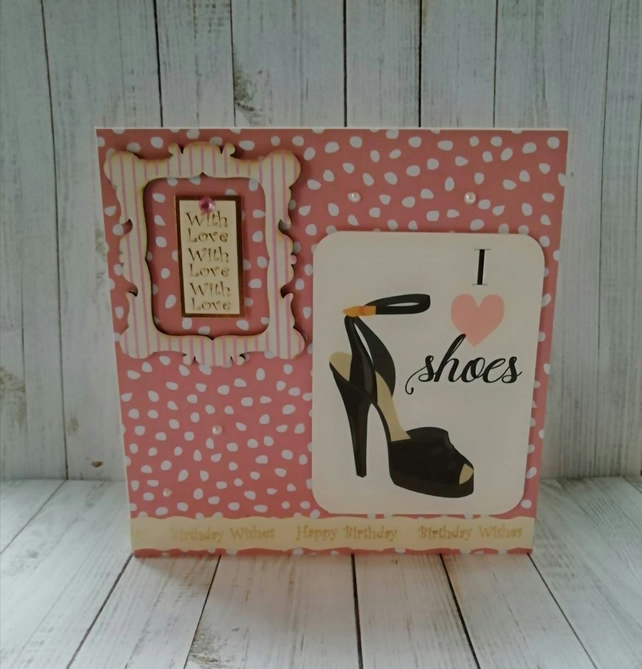 Admirable Handmade Birthday Card For Wife Mum Shoe Love Folksy Personalised Birthday Cards Paralily Jamesorg