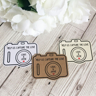10x Personalised Disposable Camera Shaped Tags - Wedding Tags - Favour Tags