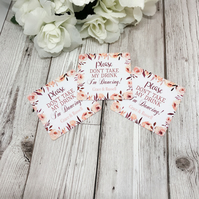 10x Personalised Blush Floral Please Don't Take My Drink Thin Coaster - Wedding