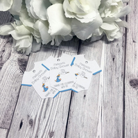 10x Baby Shower Favour Tags - Baby Boy - Baby Vest Favour Tags - New Baby