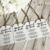 Wedding Place Settings - Top Table - Name Places - Wedding Poem