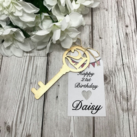 Personalised 21st Birthday Key - 21st Gift Tag