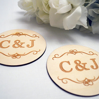 Initial Coasters - Couple Gift, Christmas Gift, Home Decor, Home Gift, Anniversa