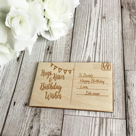Birthday Wooden Post Card, Birthday Gift, Wooden Gift, Birthday Wishes