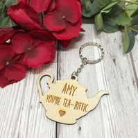 Tea-Riffic Personalised Teapot Keyring - Friend Gift - Valentine's Day - Galenti