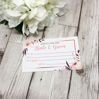 10x Wedding Advice Cards - Bride & Groom - Guest Book - Alternative Guest Book