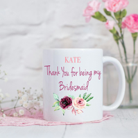 Personalised Floral Thank You Bridesmaid Mug - Bridesmaid Gift - Wedding Gift -