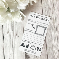 10x Personalised Wedding Advice Cards - Wedding Guestbook - Alternative Guestboo