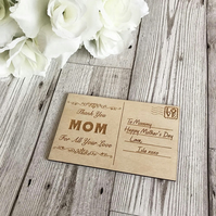 Mother's Day Wooden Card, Gift For Mom, Wooden Postcard, Keepsake Gift
