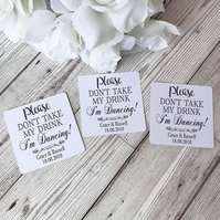 10x Personalised Please Don't Take My Drink Thin Coaster - Wedding Tags - Drink