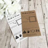 10x Wedding Advice Cards - Bride and Groom Advice - Guest Book Alternative - Wed