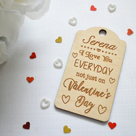 Personalised Valentine's Day Tag - Valentine's Gift - Wooden Gift - His - Hers