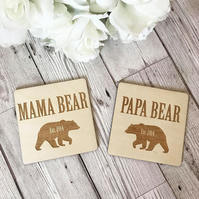 Personalised Mama Bear & Papa Bear Coasters - Mothers Day - Fathers Day - Wooden