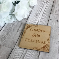 Personalised Gin Coaster - Wooden Gift - Alcohol Gift - Home Decor - Wooden Coas
