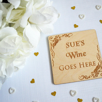 Personalised Wine Coaster - Wooden Gift - Alcohol Gift - Home Decor - Wooden Coa