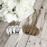 10x Personalised Wedding Favour Tags - We Tied The Know Take A Shot Tag - Weddin
