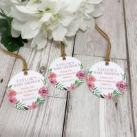 10x Personalised Boho Floral Baby Shower Tags - Summer Baby Shower - Baby Girl -