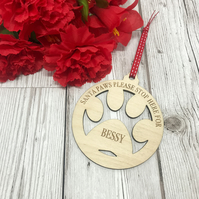 Personalised Pet Paw Christmas Decoration - Dog Decoration - Christmas Tree Deco