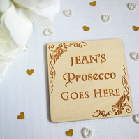 Personalised Prosecco Coaster - Wooden Gift - Alcohol Gift - Home Decor - Wooden