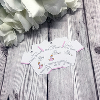 10x Baby Shower Favour Tags - Baby Girl - Baby Vest Favour Tags - New Baby