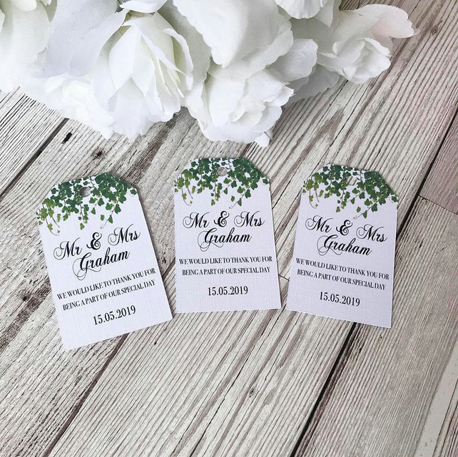 10x Wedding Favour Tags - Thank You Tags