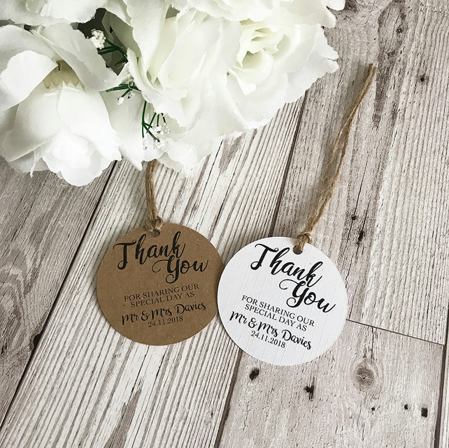 10x Personalised Wedding Favour Tags - Thank You Tags - Kraft Card - Rustic Wedd