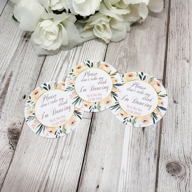 10x Personalised Light Floral Please Don't Take My Drink Thin Coaster - Wedding