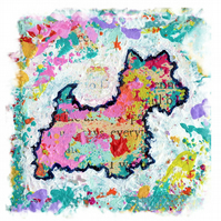 Art print of Mixed media, colourful, contemporary westie, dog art print