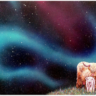 Art print, Mother Earth - highland cow and calf, northern lights