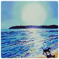OOAK Original acrylic painting of dog on beach - miniature canvas