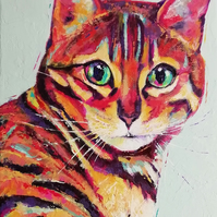 Custom colourful, contemporary pet portrait - cat, dog, small furries.